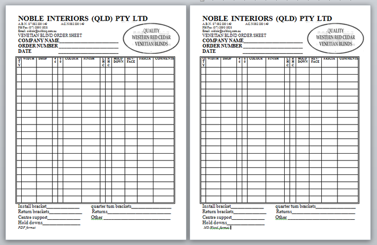 Trade Order Sheet - Noble Interiors QLD Pty Ltd working